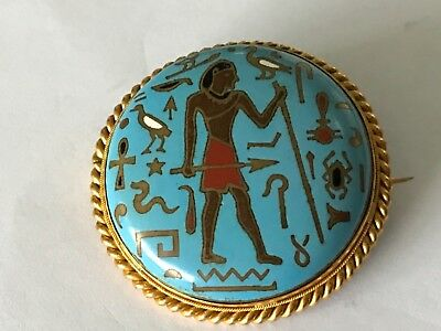 Antique Vintage Art Deco 1920's 9 ct gold plated Egyptian enamel brooch pin.