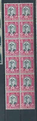 South Africa stamps.  1947 Royal Visit 1d MNH block of 12. Folded (C970)