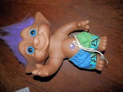 Large Russ Troll Boy Doll Jointed Purple Hair 11 in. High, Beach Bum