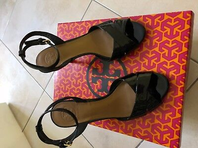 447388fc5e90c TORY BURCH TANIA Patent Leather Ankle Strap Sandals  Size US 6 Black ...