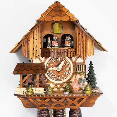 Authentic Musical German Black Forest 8-Day Cuckoo clock with Kissing Couple