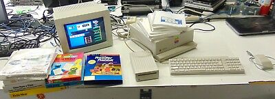 Vintage Apple IIGS Computer W/ keyboard, Drive, Monitor, Mouse, Games Lot