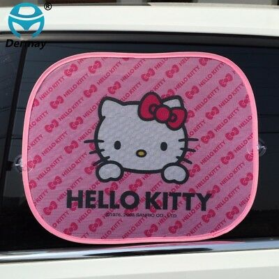 2PCS KITTY Car Windshield Sun Shade Film Protect Sunshade Window Side Rear
