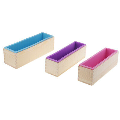 3pcs Rectangle Silicone Soap Loaf Mold Wood Box Mould DIY Cake Making Tools