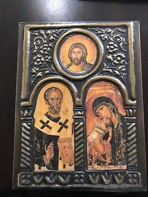 Orthodox Christian Icon Byzantine Geece Rngraved On Pure Bronze 25X18Cm