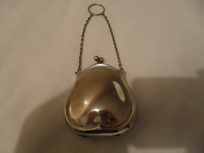 Antique solid silver chatelaine purse and chain hallmarked Birmingham 1919