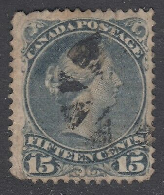 "Canada Scott #30b 15 cent  blue grey ""Large Queen""   *"