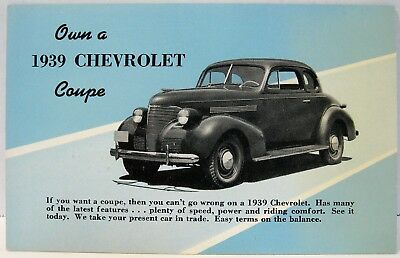 1939 Chevrolet Coupe Postcard