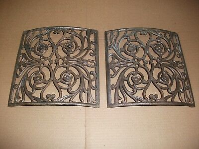 2X Antique Cast Iron CURVED Heat Register GRATE Architectural Salvage10x10 aprx