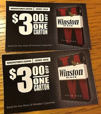 $6 VALUE 2 WINSTON Cigarette Coupons-2 $3 off 1 carton exp 1/31 & 2/28/19