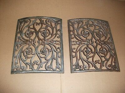 2X Antique Cast Iron CURVED Heat Register GRATE Architectural Salvage 9x11 aprx