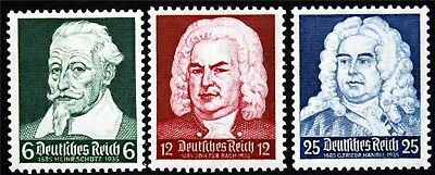 Schultz, Bach and Handel  MH 1935 STAMP/GERMAN/3RD REICH/SWASTIKA/NAZI (6474)