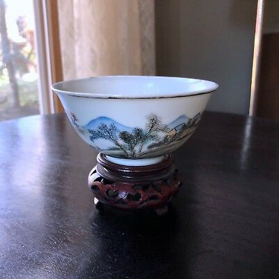 Antique Chinese Porcelain Mark Signed Cup Bowl Dish Mountain Scenic Painted