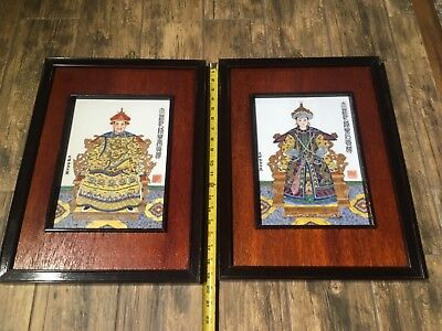 Pair of Qing Dynasty Hand Painted Guangxu Emperor Framed Porcelain Wall Tiles