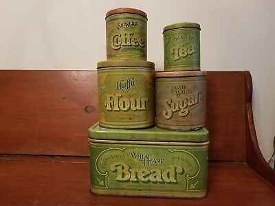 Vtg 1977 Ballonoff Tin Bread Box & 4 Pc Ballonoff Canister Set