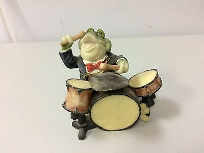 Frog Playing The Drums Figurine