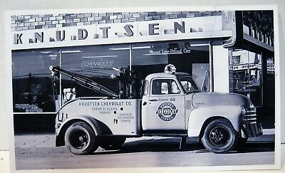 Early 1950's Chevrolet Dealership/Tow Truck RPPC  Postcard