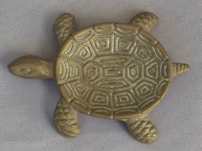 Vintage small brass ashtray turtle figurine