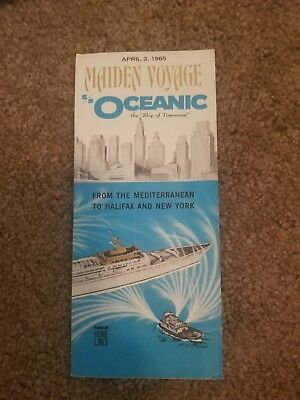 Ss Oceanic Maiden Voyage Foldout April 1965 Home Lines