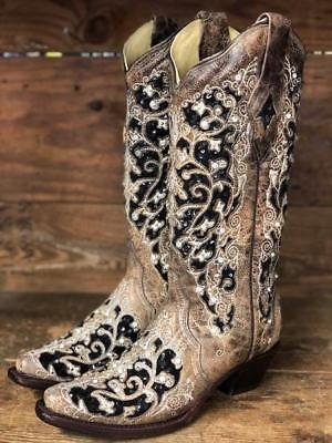 Corral Women S Brown Floral Black Glitter Inlay Snip Toe Western