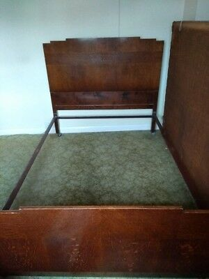 Antique Vintage 1930s/1940s Art Deco Double Bedstead, Iron Framed