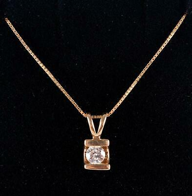 "14k Yellow Gold Round Cut Diamond Solitaire Pendant W/ 18"" Chain .16ct"