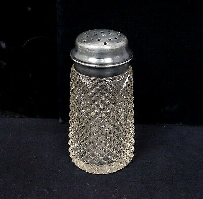 Antique 19c Silver SP Fine American Brilliant Cut Glass Muffineer Sugar Shaker