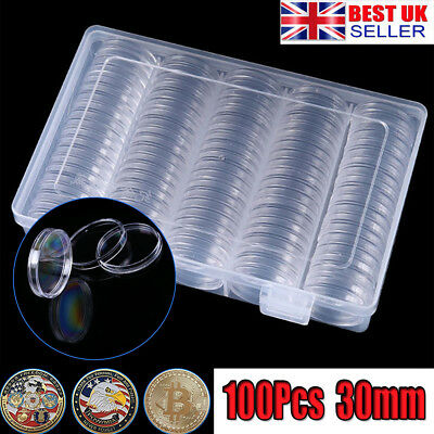 100pcs 30mm Clear Plastic Round Case Coin Storage Capsules Holder Round Box UK