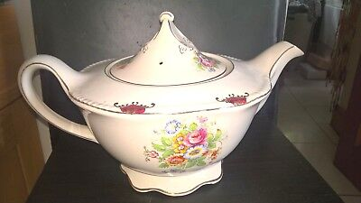 Art Deco Teapot Woods Ivory Ware England Large 2 pint Floral Pattern 1930's
