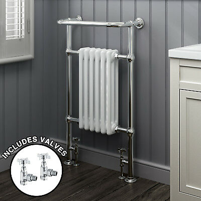 White & Chrome Traditional Heated Towel Rail Radiator With Valves - 965 x 585mm