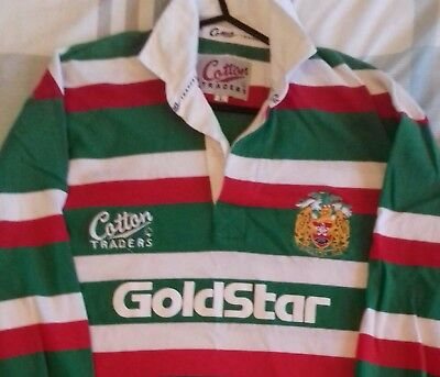 Retro Leicester Tigers  Large Cotton Trader Long Sleeved Rugby Shirt. VGC