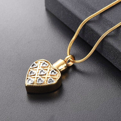 24k Gold Heart Cremation Urn Necklace Ashes Jewellery Pendant Keepsake Memorial