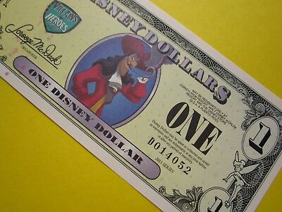 ZIPPY'S MINT Disney Dollars 2013 *** D014052 ** CAPTAIN HOOK $1 ** low 5 digit #