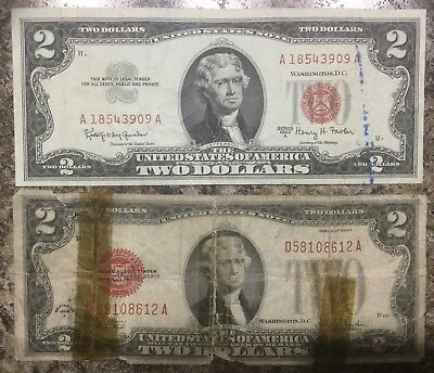 $2 1963A Red Seal & 1928F Series US Legal Tender Note Old LTN Money Bill Error