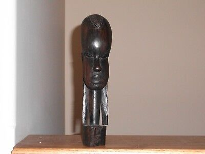 """VTG AFRICAN TRIBAL Hand Carved EBONY WOOD Sculpture Face HEAD BUST Statue 8.75"""""""