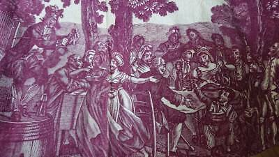 DIVINE ANTIQUE FRENCH DOCUMENT MORCEAU AUBERGINE TOILE WEDDING PARTY c1850