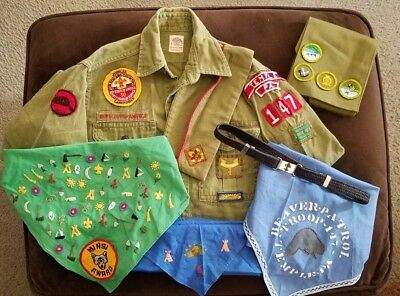 Vintage PA Boy Scouts of America Uniform Shirt w/ Vintage Camper Jubilee Patch+