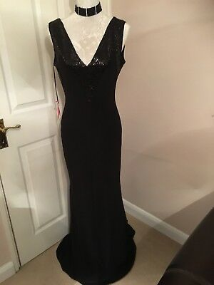LBD Maxi Plung Black Party Cocktail Dress New With Tags Size 10