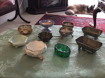 10 Pcs Vintage Metal, Porcelain And Glass Individual Salts
