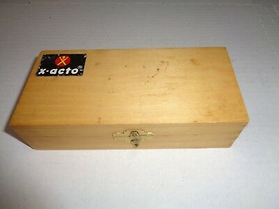 Vintage X-Acto Basic Knife Set in Wood Dovetail Box with 3 Knife Handles