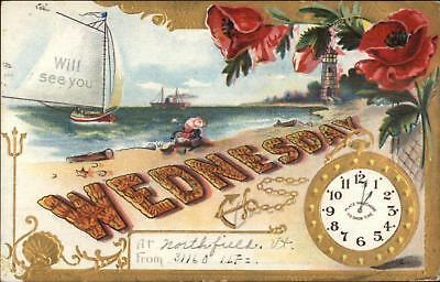 Day of the Week Wednesday Beach Clock Lighthouse Northfield VT Postcard
