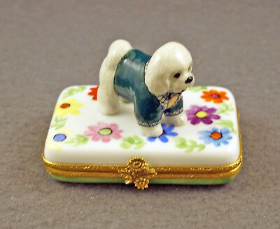 New French Limoges Trinket Box Cute Bichon Frise Dog Puppy On Colorful Flowers