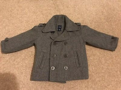 Stunning Boys Baby Gap Smart Grey Wool Coat In 18-24 Months