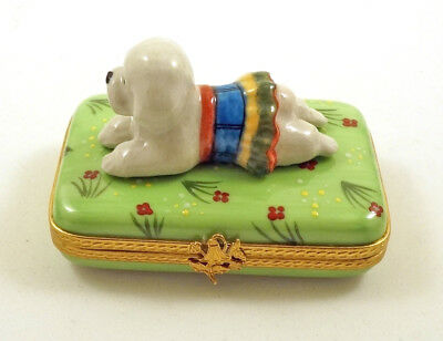 New French Limoges Trinket Box Cute Bichon Frise Dog Puppy On Grass With Flowers