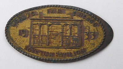 Chicago 1933 World's Fair Egyptian Pavilion Gilt 1916-D Elongated Wheat Cent