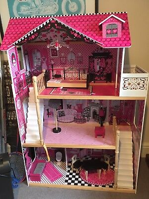 Toy Wooden Girls Dolls House 3 Storey With Accessories Fully Assembled