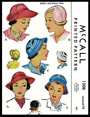 Unique Millinery Stunning Summer Hats Sewing Pattern Vintage 1940's McCALL #1506