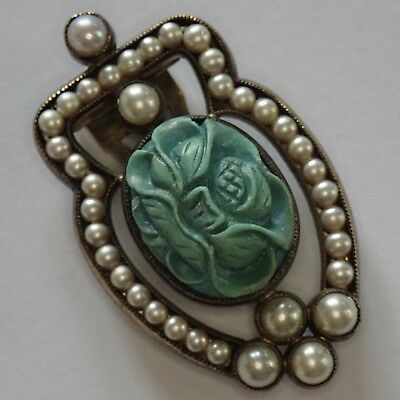 Antique Art Deco Silver Carved Chinese Turquoise Pearl Flower Dress Clip Pendant