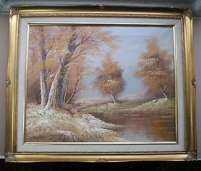 Old Vintage Autumn River Landscape Oil Painting B Howes French Style Gold Frame