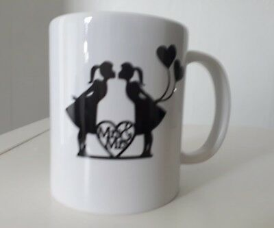 Mrs & Mrs mugs, lesbian, wedding, gay, cute novelty mugs with box.
